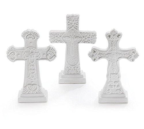 White Embossed Cross Decorative Figurine Set of 3 - Christmas Xmas Holiday Decoration
