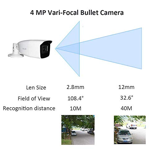 Hikvision Bullet Camera Outdoor 4X Zoom 4.0MP Security Surveillance Camera Waterproof CCTV Camera with TVI/AHD/CVI/CVBS Include 2.8-12mm Lens