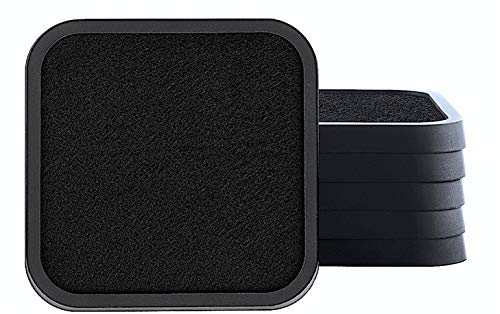 Black Silicone Absorbent Coasters for Drinks - Set of 6 Unique Modern Elegant Design Table Coaster for Cups Glasses and Mugs Tabletop Protection - Soft Felt Cloth Insert and Non Slip Rubber