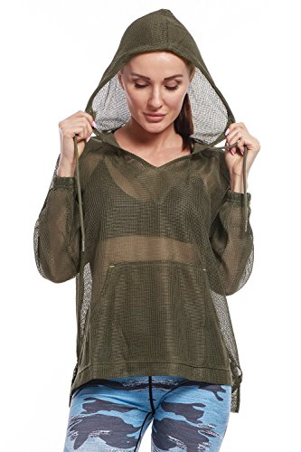 AmeSport Women's Loose Causal Pullover Hoodie High Low Hem Long Sleeve Full Mesh Hooded Sweatshirt - Green, (Hooded Mesh Pullover)