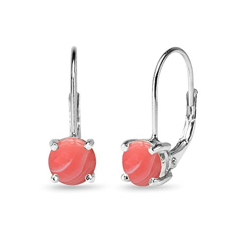 Sterling Silver Polished Simulated Coral 6mm Round-cut Leverback Earrings