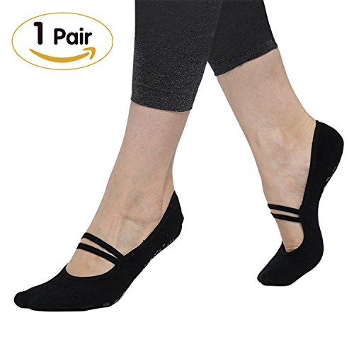 Yoga Socks Non Slip Grips Socks for Pilates Barre Ballet Low Cut Cotton Women Non Skid Toe Shoes by SCIROKKO(1Pair)