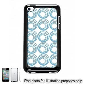 Sky Blue Circle Swirls Pattern Apple iPod 4 Touch Hard Case Cover Shell Black 4th Generation