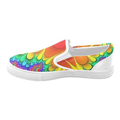 D-story Färgstarka Regnbåge Blomma Kvinna Slip-on Canvas Skor Mode Sneaker
