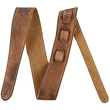 Fender Road Worn Strap - Deluxe Distressed Brown Leather with Tooled Road Worn Logo