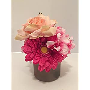 PINK ROSES AND GERBER DAISIES WITH PINK/WHITE RHODODENDRON IN A PINK GLASS VASE 9