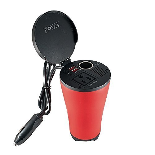 Foval 150W Car Power Inverter Cup Holder with AC Outlets and 4.8A Dual USB Charging Ports Car Adapter with Car Cigarette Lighter Socket