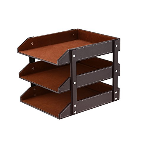 3 Tier Leather Magazine File Holder,SanPlus Paper Tray Organizer Desk Document File Organizer (Brown Leather Organizer)