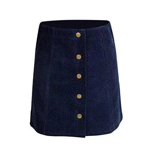 ROPALIA Femmes Vintage A-Line Haut De Taille Bouton Avant Mini Jupe Bleu