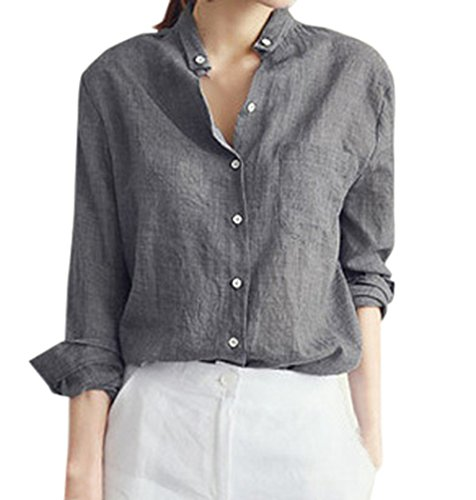Shirts Couleur Automne Shirt Femme Chemisiers Fashion Casual Tops Printemps Unie Monika Lache Blouse T Gris Longues Manches et w7UFIvaqq
