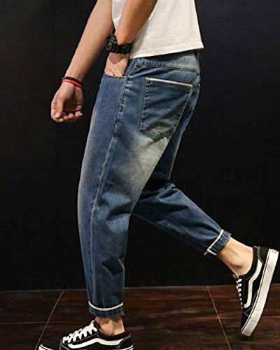 Da Risvolti A Uomo Haremshose Vintage Con Elasticizzati Di Casual Forma Jeans Semplice Regolari Stile Pantaloni Mittelblau Base RfdnxqH
