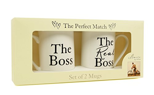 ukgiftstoreonline THE BOSS & THE REAL BOSS BONE CHINA MUGS WEDDING