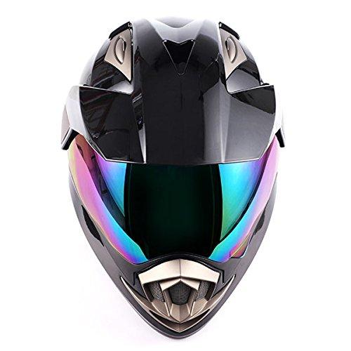 Dual Sport Helmet Motorcycle Full Face Motocross Off Road Bike Racing Black White,Size Small