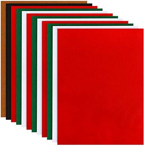 [해외]Caydo 12 Pieces A4 Christmas Felt Fabric Sheets 5 Colors Felt Sheets Craft for DIY Christmas Decorations / Caydo 12 Pieces A4 Christmas Felt Fabric Sheets, 5 Colors Felt Sheets Craft for DIY Christmas Decorations