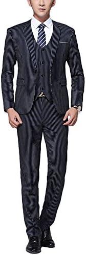 (ビクトリー メンズ)スーツ メンズ 3ピーススーツ&上下セットスーツ スーツセット セットアップ スリム 紳士服 洗えるスーツ ストライプ系 ビジネス ファション