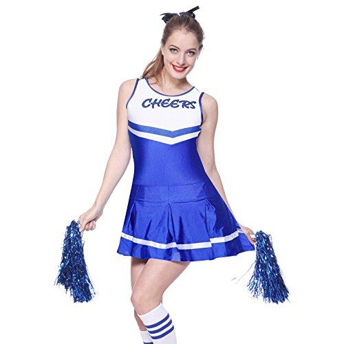 High School Cheerleading Uniforms (Anladia Womens Cheerleader Fancy Dress High School Costume Cheerleading Uniform Outfit (M US 6 8, Blue))
