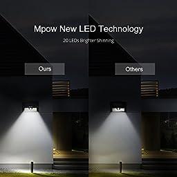 Mpow Solar Lights 2-Pack 20LED Motion Sensor Light Waterproof Outdoor Wall Lighting for Garden,Patio