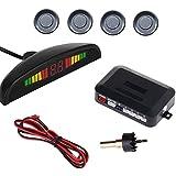 LED Car Parking Sensor Auto Reverse Assistance Backup Radar Detector System Grey Color 4 Sensors