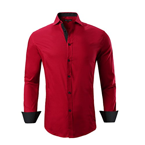 Alex Vando Mens Dress Shirts Regular Fit Long Sleeve Men Shirt(Red,Large)