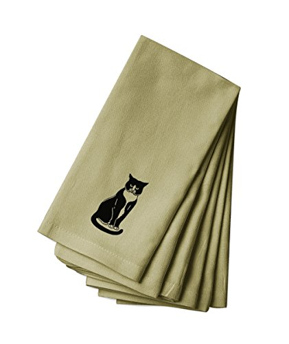Style in Print Cotton Canvas Dinner Napkin Set Of 4 Tuxedo Cat Black White #3 By