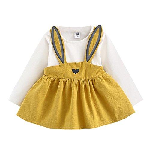 Kehen Autumn Toddler Baby Girls Cute Rabbit Mini Dress Long Sleeve Bandage Above Knee Dress Ball Gown (6/12M, Yellow) -