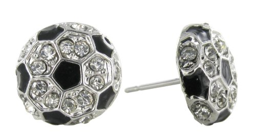 Mini Soccer Ball Rhinestone Stud Earrings - Clear Crystal with Black Enamel Pentagonal Pattern