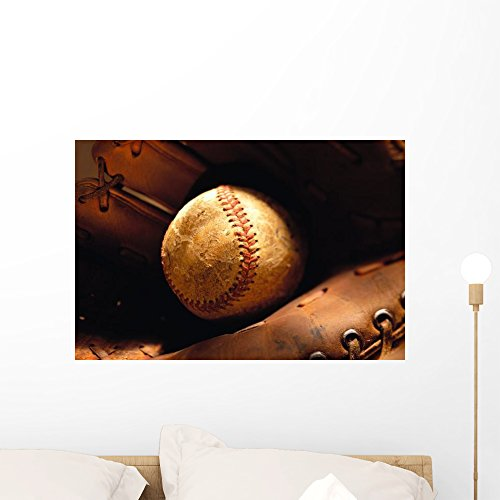 Wall Mural Old Baseball Wall Mural by Wallmonkeys Peel and Stick Graphic (24 in W x 16 in H) WM207251 Artifacts Baseball