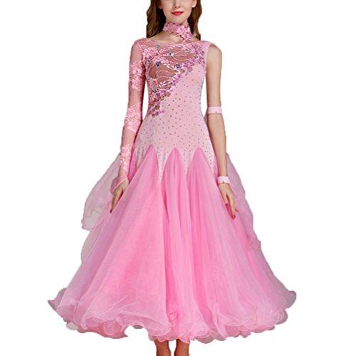 Ballo Danza Swing Valzer Tuta Donne Per l Da Wqwlf Abiti Grande Cucitura Primavera Xxl Le Sala Moderna Prestazione Pink Estate Vestito Gonna Pizzo Competizione pwOfxqAE