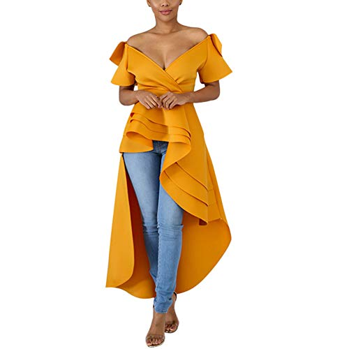 Annystore High Low Dress for Women - Ruffle Short Sleeve Off The Shoulder Bodycon Peplum Shirt TopsGreen Orange