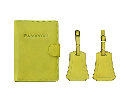 Hand-made, 100% Full Grain Leather Passport Holder Cover Jacket Case and Luggage Tag By 2cloud9 (Green)