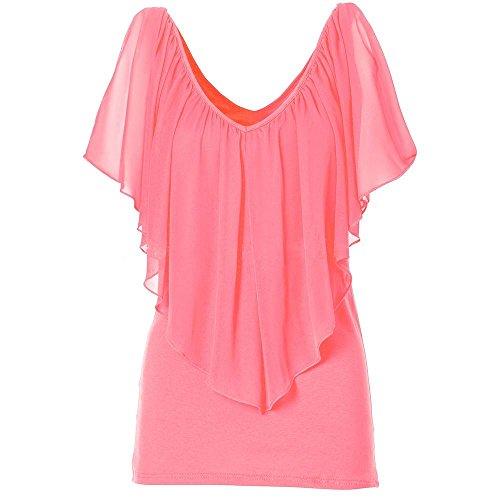 Sra V-cuello cabo gasa de la manga costura leche tramo salvaje camisa de seda camiseta Orange
