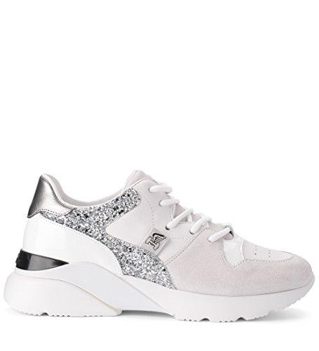 Hogan Sneaker H385 Active One in Pelle Bianca Suede E Glitter 36,5(EU) -4(UK) White
