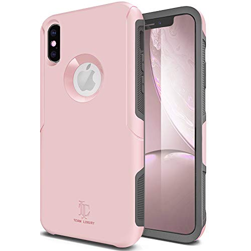 (TEAM LUXURY iPhone X Case/iPhone Xs Case, [Defense-x Series] Dura Layer Shock Absorbing Technology Protective Phone Case - for Apple iPhone X/Xs 5.8 Inch (Dusty Pink))