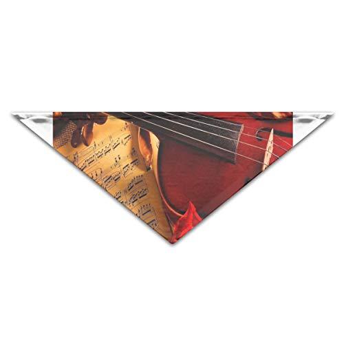 HJudge Dog Bandana Violin Notes Rose Beauty Music Dog Scarf Personalized Cat Bandana Triangle]()