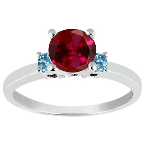 1.16 Ct Round Red Created Ruby and Swiss Blue Simulated Topaz 925 Silver Ring (Size 7)