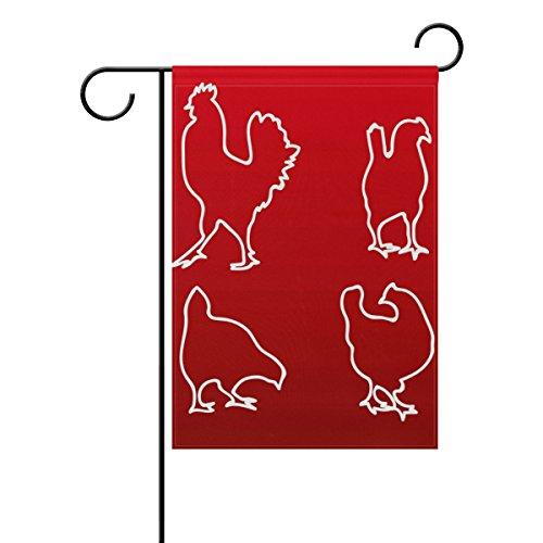 "LEISISI Chicken White Line Silhouette Garden flag 12""X18"" Tw"