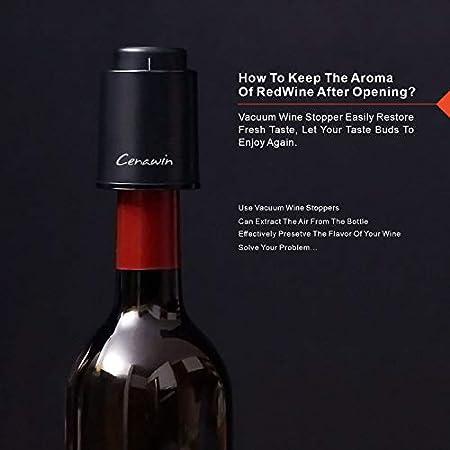 3 tapones para botella de vino, tapones de champán al vacío, conservador de vino reutilizable, corchos de vino para mantener fresco [negro]