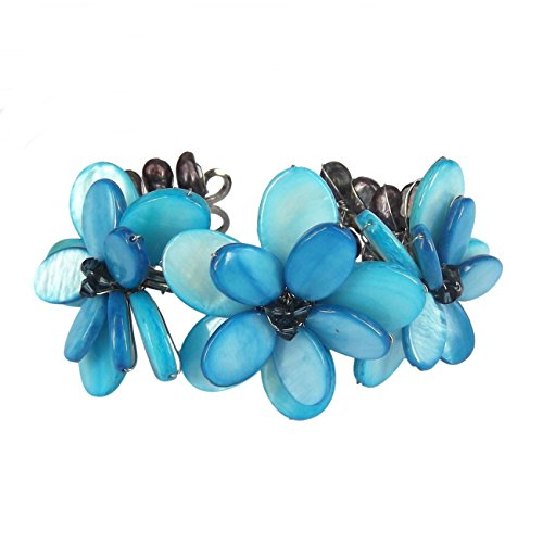 AeraVida Light Blue Mother of Pearl Shell-Cultured Freshwater Pearl Cluster Flower Cuff Bracelet