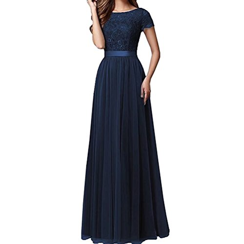 Dunkel Spitze Kurzarm Promkleider Burgundy Abiballkleider Brautmutterkleider Marie Braut Blau Abendkleider Damen La 4wqv1U6x