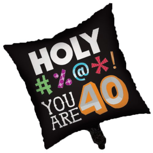 Creative Converting Holy Bleep 40th Birthday 2-Sided Square Mylar - Mylar Square 18 Balloon Inch