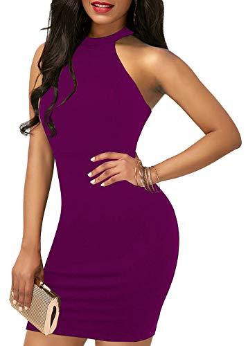 - Lyrur Women's Fitted Stretchy Lace Keyhole Vestidos de Fiesta for Women (#6036-US6, Purple)