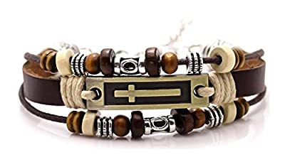 Xusamss Hip Hop Alloy Cross Tag Bangle Wood Bead Pu Leather Link Bracelet,7-9inches
