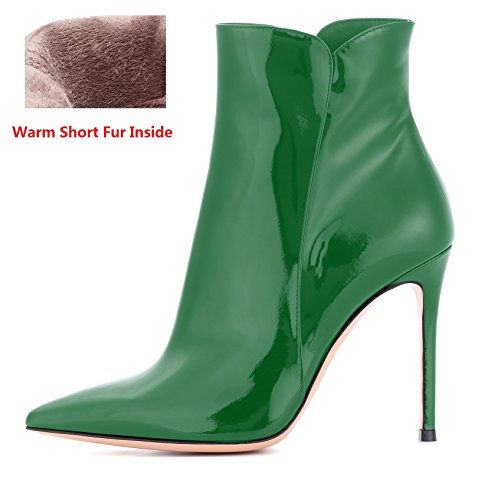 EDEFS Damen Ankle Boots,Stiefeletten mit Absatz in Schwarz,High Heel Winter Stiefel Green