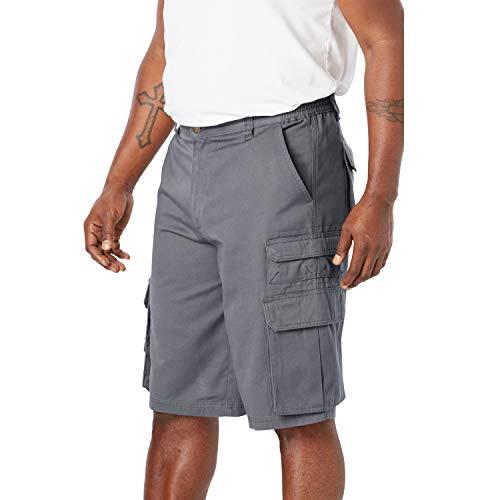 Boulder Creek Men's Big & Tall Side-Elastic Twill Cargo Shorts, Steel Big-60