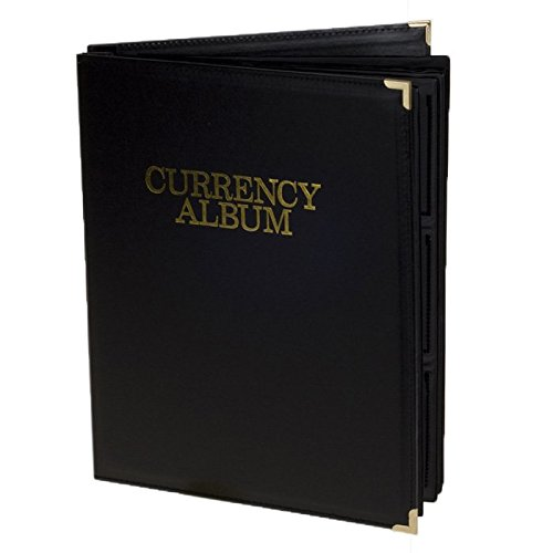 Banknotes Album Small Currency 96 Notes Black Leatherette Deluxe
