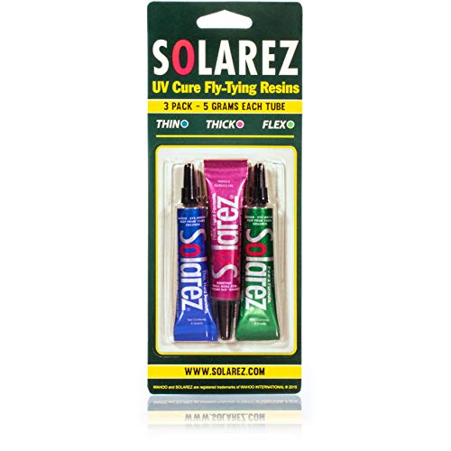 SOLAREZ Fly Tie UV Cure Resin - 3 Pack Starter Kit - Thin Hard, Thick Hard, Flex Formulas (Three 5 Gram Tubes) Fly Tying, Fly Fishing, Build Fly Heads and Bodies