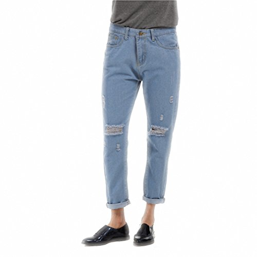 Price comparison product image New Sale Jeans For Women NEW Light Blue Casual Torn Pants Hole Jeans for Woman Female Denim Pants Trousers Pockets Pants blue L