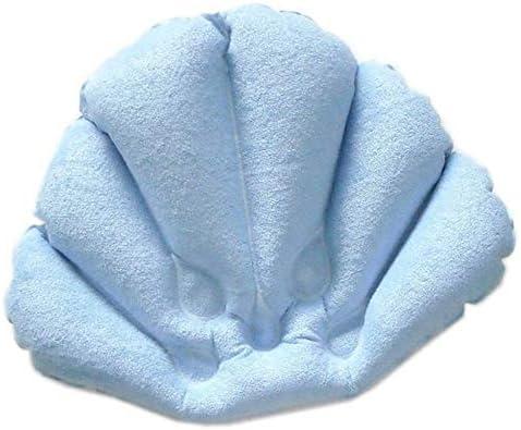 FONGFONG Gonfiabile Conchiglia Forma Cuscino per Vasca da Bagno con Antiscivolo Ventose Ergonomico Poggiatesta Collo e Sostegno per la Schiena per Vasca da Bagno Jacuzzi Spa e Idromassaggio Blu