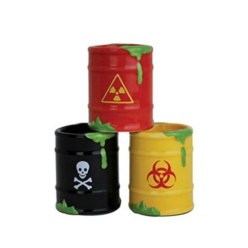 3 Toxic Waste Bio Hazard Barrel Shot Glasses Set - Drinking Zombie Party Gift Peoples Choice