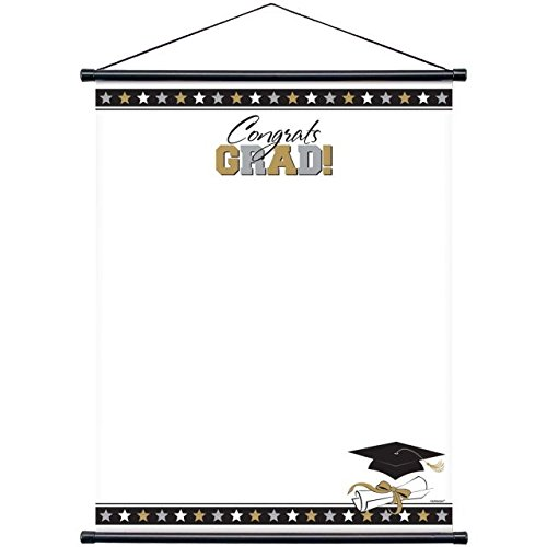 Grad Sign-In Scroll Sheet for Black, Silver and Gold Graduation Party Keepsake Favour Supply, Laminated Paper, 23'' x 18''.